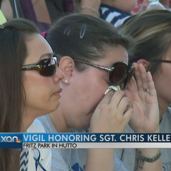 Dozens gather for vigil to honor Sgt. Kelley
