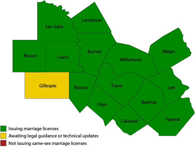 Central Texas County Map Map: Central Texas counties issuing same sex marriage licenses