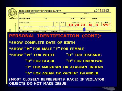 TX DPS Citation Identification