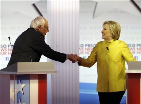 Democratic presidential candidates, Sen. Bernie Sanders, I-Vt, and Hillary Clinton_243192