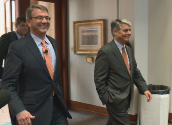 Sec. of Defense Ash Carter and UT President Greg Fenves_265410