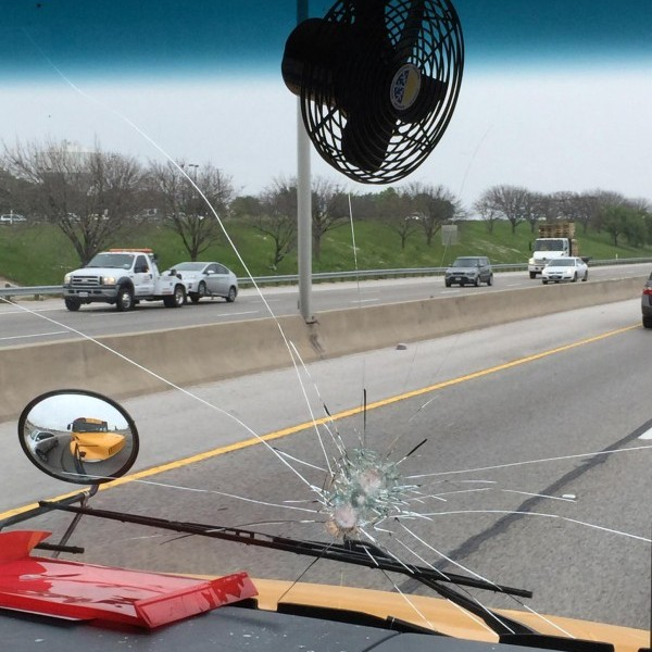 A Belton ISD school bus was hit by a rock on I-35 in Round Rock_264362