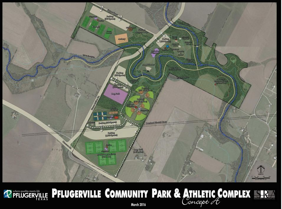 One of three designs the public will weigh in on for the future sports complex (Courtesy: City of Pflugerville)