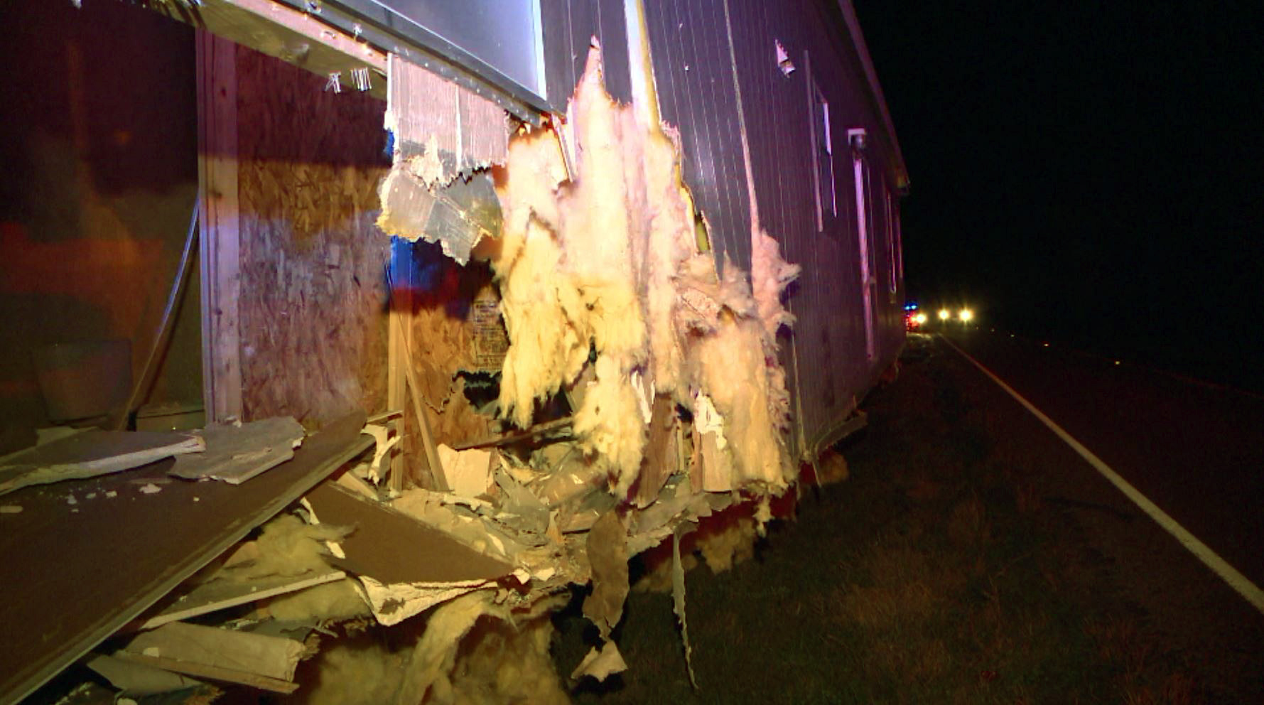 Car crashed into a truck carrying a mobile home on FM 535 on Tuesday, Feb. 9, 2016.