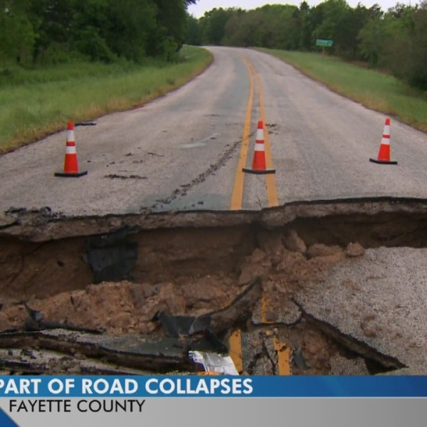 TxDOT says it's working on fixing a road that washed away in Fayette County