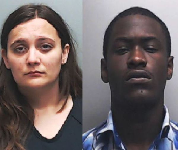 Meredith Baird, left, and Charles Agawereh, accused of tagging Enchanted Rock_268074