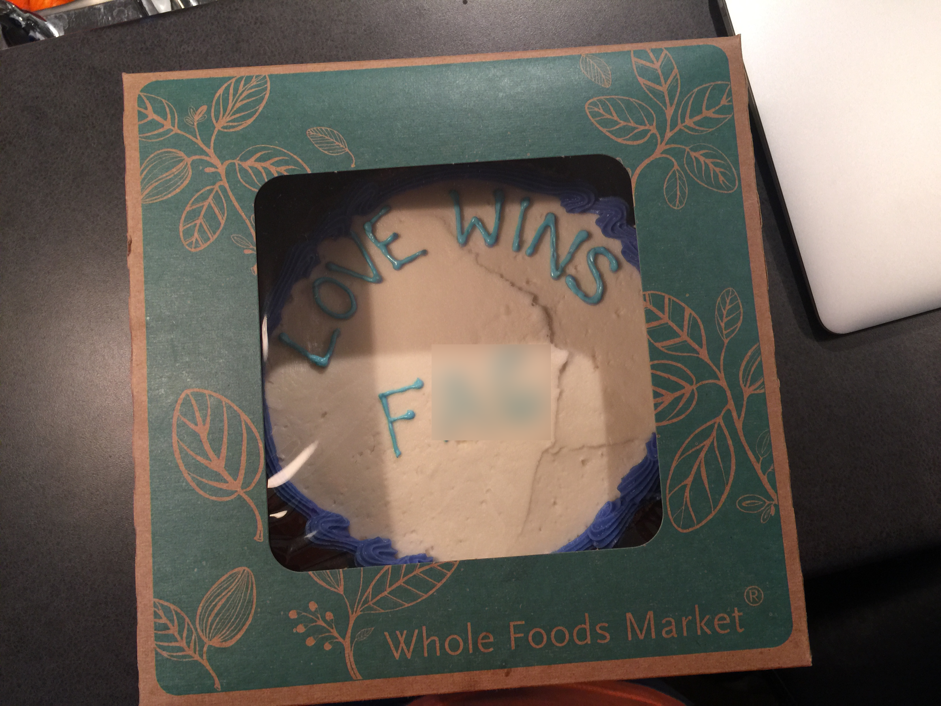 Cake that was ordered by Jordan Brown. KXAN has decided to blur the last two letters in the third word. (Courtesy: Kaplan Law Firm)