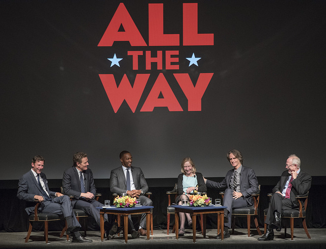 From left: Library Director Mark Updegrove, Bryan Cranston, Anthony Mackie, Doria Kearns Goodwin, Jay Roach and  Robert Schenkkan. (Actors and filmmakers of All the Way tour the LBJ Presidential Library on May 11, 2016. (Mark Updegrove, left,...