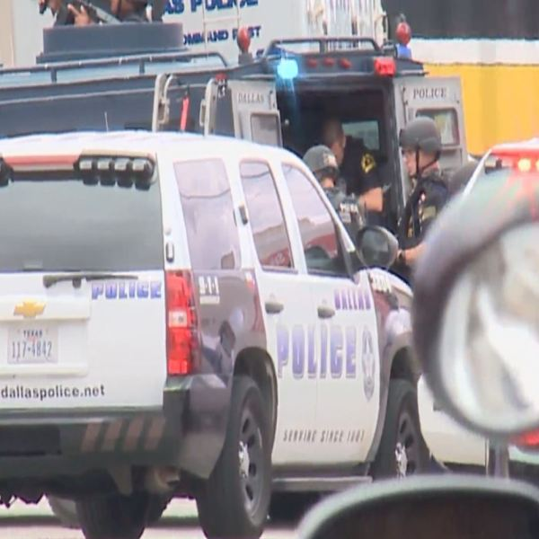 SWAT is investigating outside of Dallas Police Headquarters July 9, 2016._310043