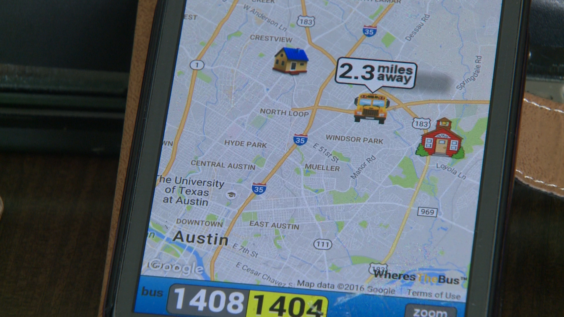 Where's the Bus app tracks where your child's bus is located. (KXAN Photo/Ed Zavala)