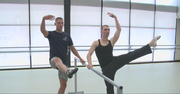 Trey Hardee, left, learns ballet_338456