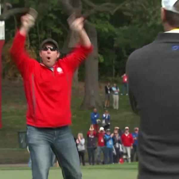 Dave Johnson celebrates after sinking putt (NBC News)_355218