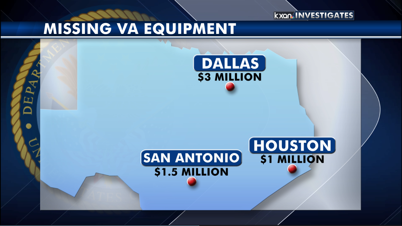 Records obtained by KXAN shows the totals for missing equipment from VA locations statewide. (KXAN Photo)