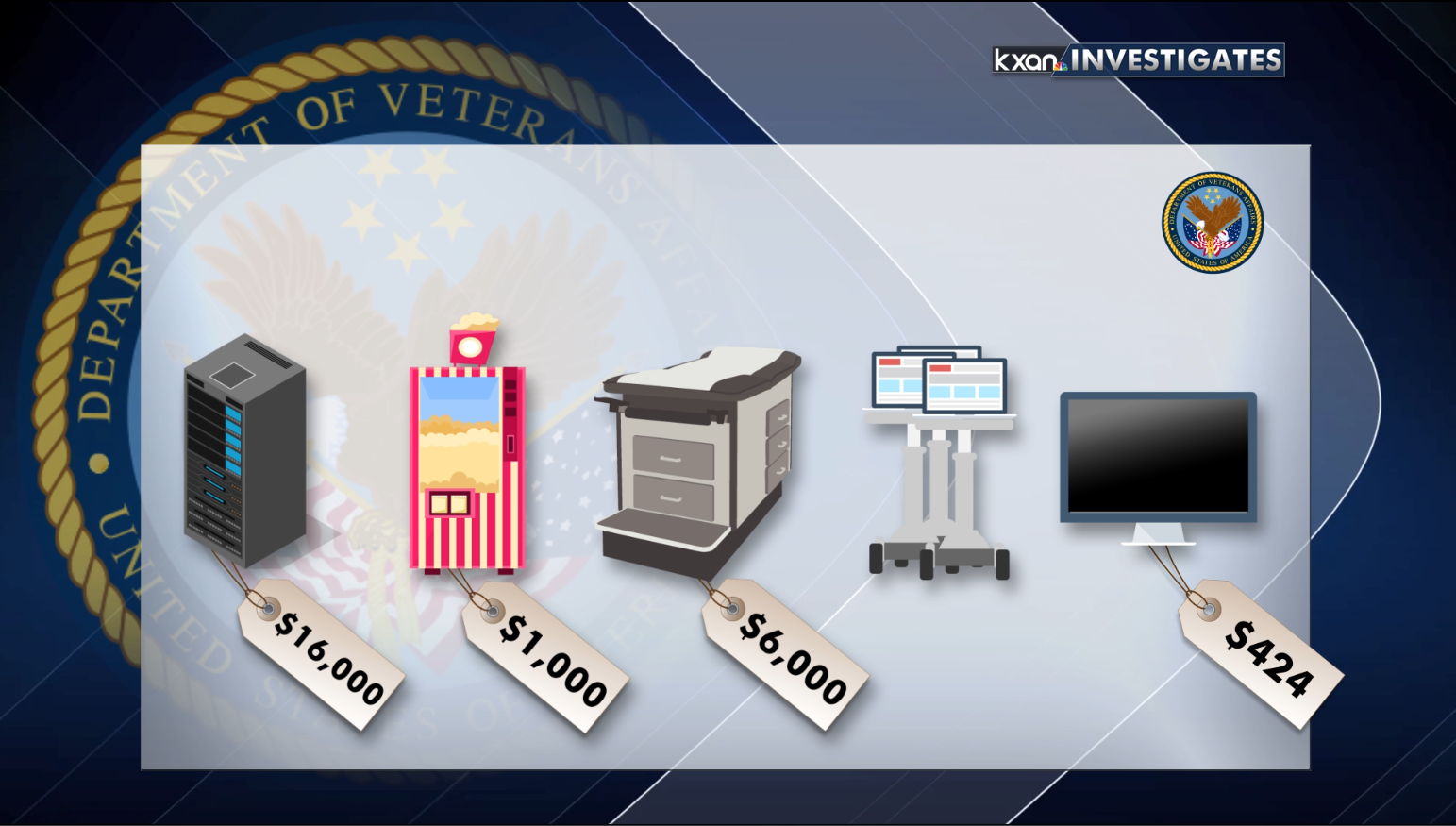 Equipment missing from central Texas VA locations includes a $16,000 computer server, a $1,000 pocorn machine, a $6,000 exam table, medical carts, and a TV. (KXAN Photo)