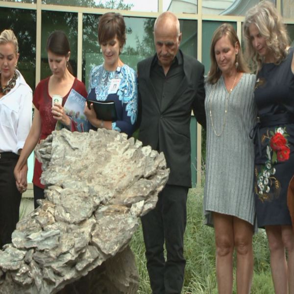 A sculpture dedicated to Ben Breedlove's message was unveiled in the healing garden at Dell Children's Medical Center Saturday, October 1, 2016_355739