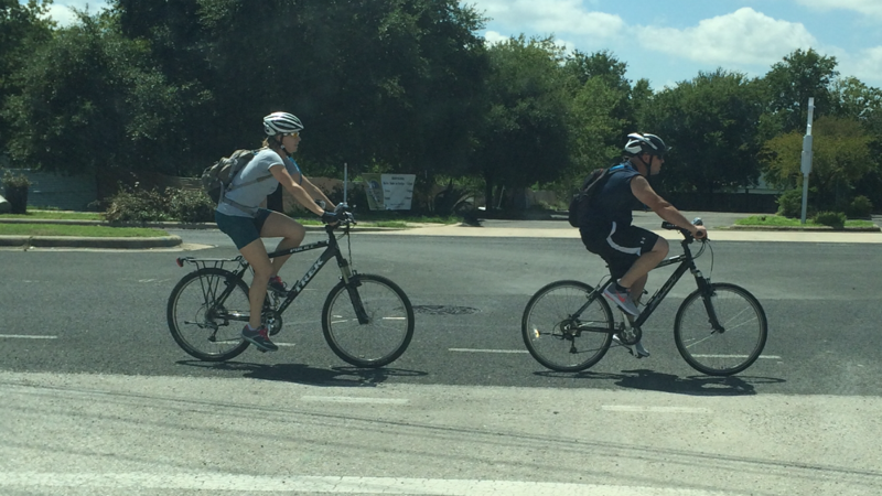 Senior Police Officer Rheannon Cunningham on patrol during a Safe Passing operation with another officer. (Austin Police Department)