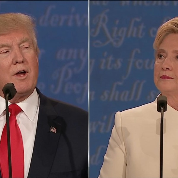 Donald Trump and Hillary Clinton at the third presidential debate. Oct. 19, 2016_364399