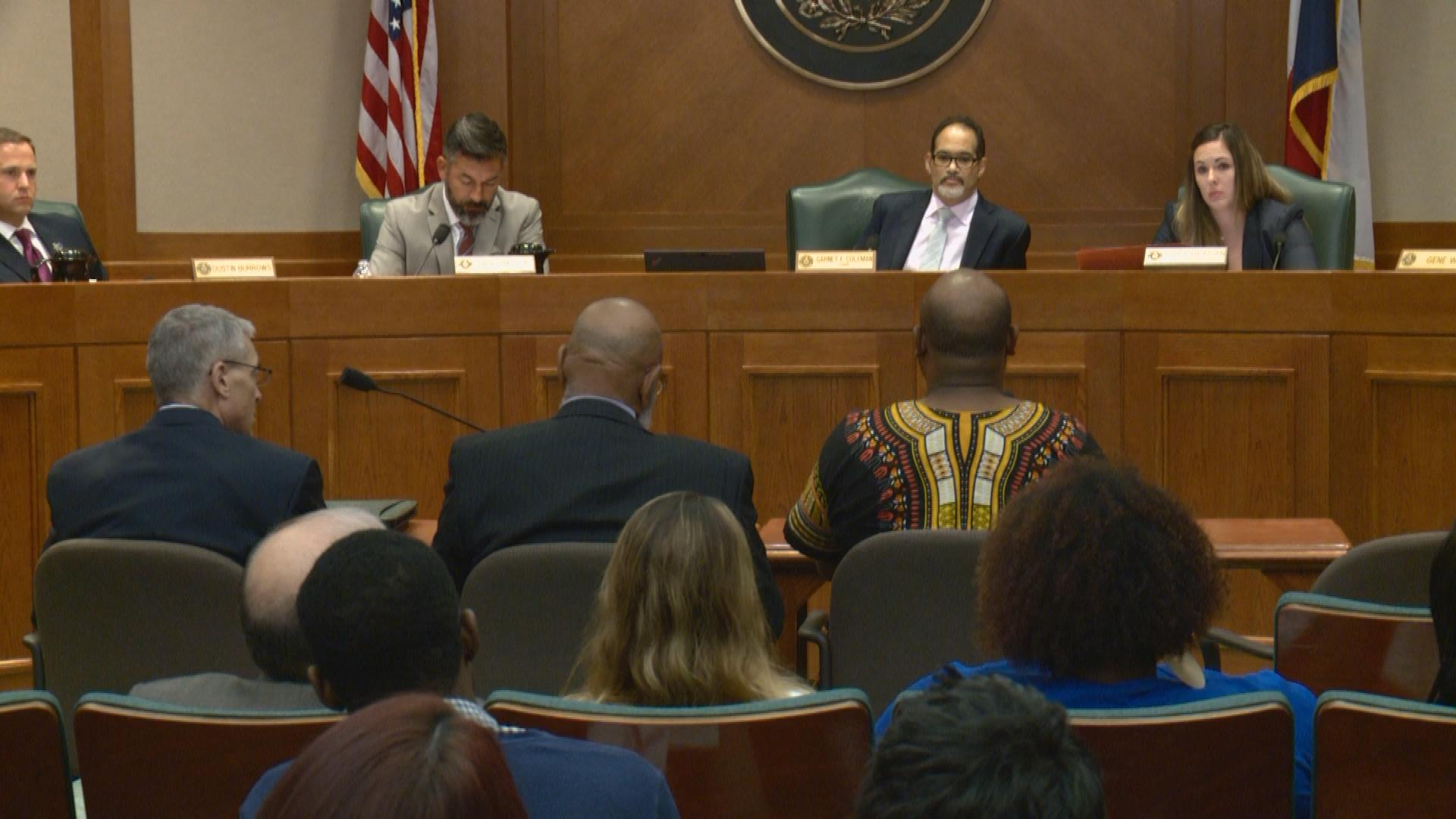 (Left to right) DPS director, Steve McCraw, Former Congressman Craig Washington, and Ashton Woods of Black Lives Matter testify before the Hous_375603