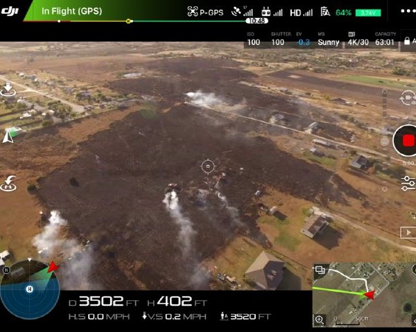 An aerial view of the contained 150-acre east of Kyle. Nov. 28, 2016 (Kyle Fire Department Photo)_379959