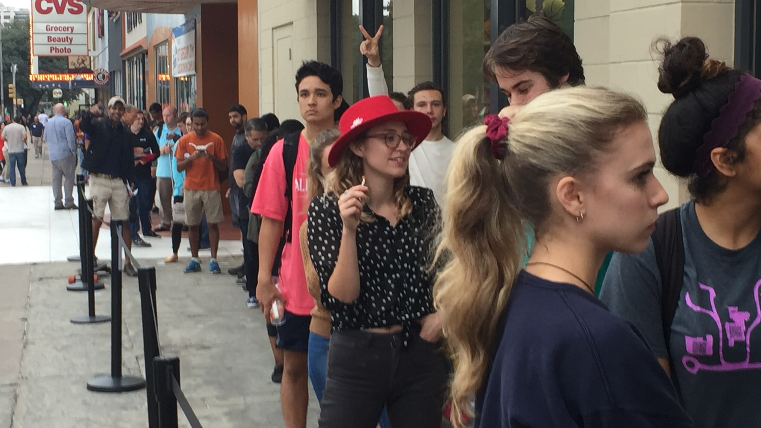 Young voters waiting in line at the UT Coop (KXAN Photo_Todd Bailey)_372247
