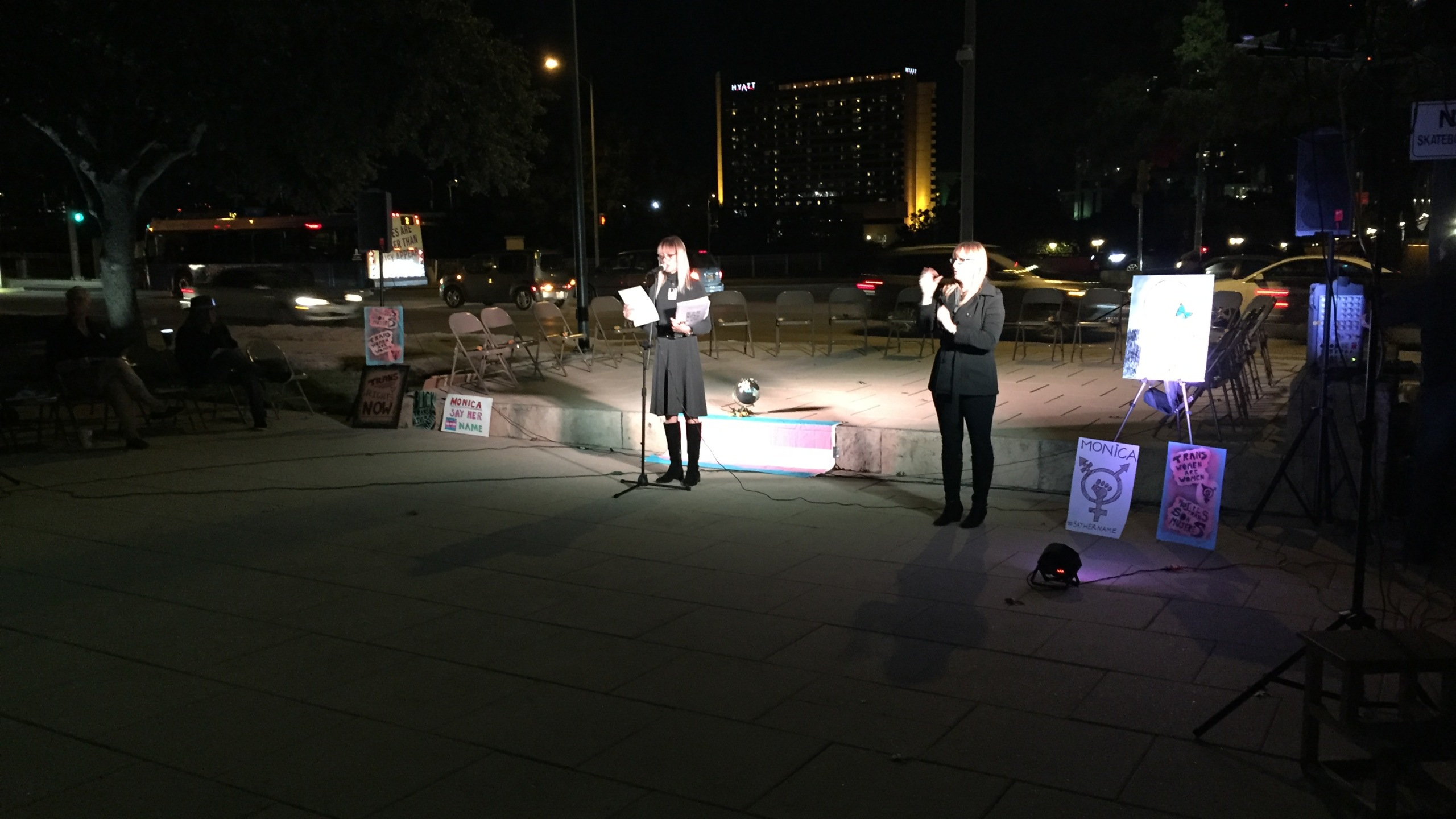 Dozens gathered for the Transgender Day of Remembrance vigil at Austin City Hall._377083