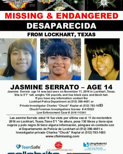 Missing poster for missing Lockhart teen Jasmine Serrato_375650