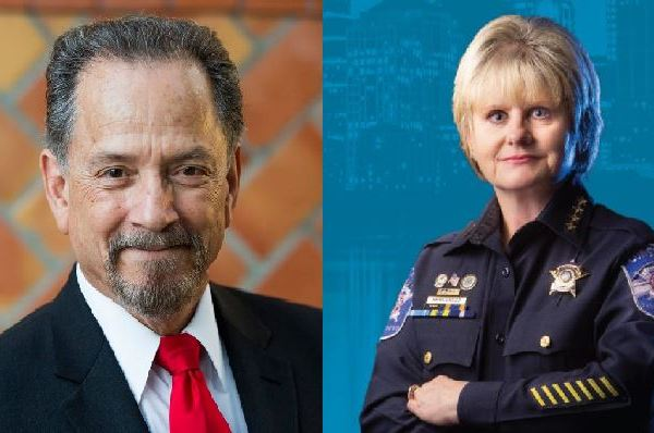 Joe Martinez, left, Republican candidate for Travis County sheriff, and Sally Hernandez, Democratic candidate at right._366293