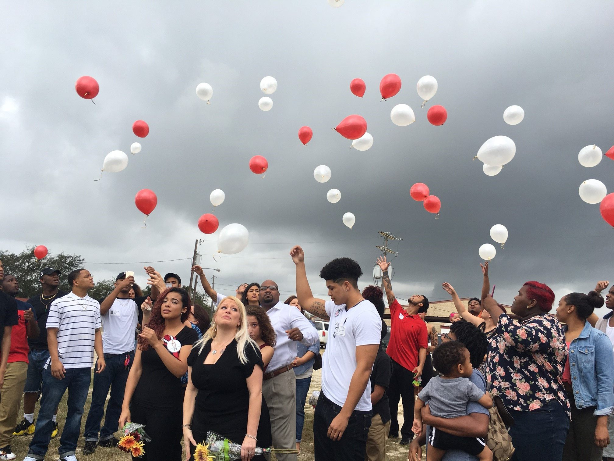 Balloon ceremony to remember Lance Thomas , Manor Excel student who was killed in a crash on November 2015. (KXAN Photo/Todd Bynum)