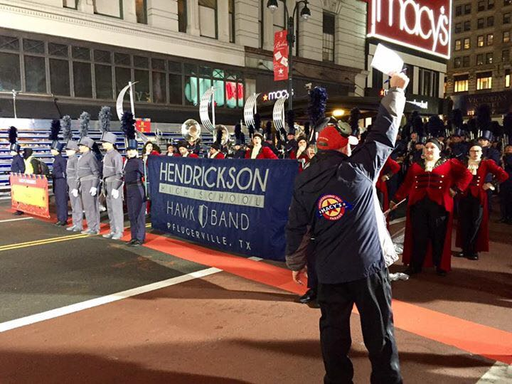 The Hendrickson High School band practices early Thursday morning before performing in the Macy's Thanksgiving Day Parade._378880