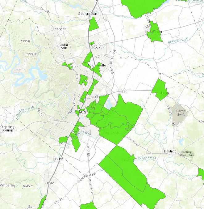 A USDA map of the Austin area shows (in green) several food deserts scattered throughout the city and surrounding communities. (USDA)
