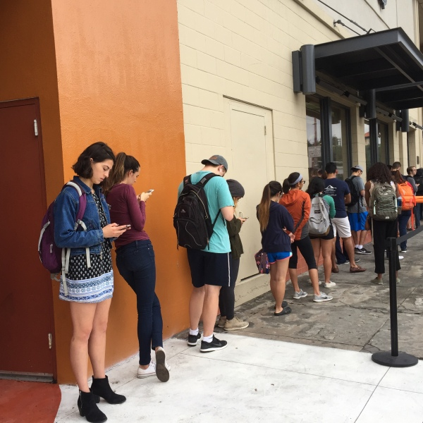 Students waiting in line to vote on Election Day near the University of Texas at Austin campus (KXAN Photo_ Kate Weidaw)_372058