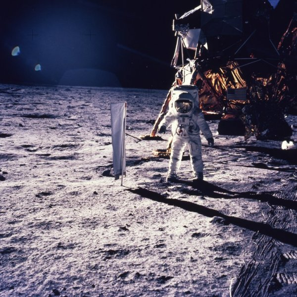 FILE - In this July 30, 1969 file photo, astronaut Edwin E. Aldrin Jr. walks on the surface of the moon. A federal judge in Kansas has ruled th_387692