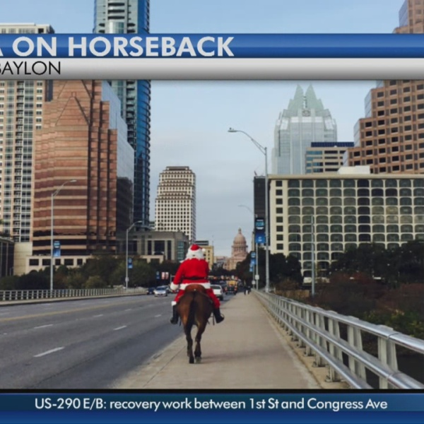 Santa spotted on horseback in downtown Austin