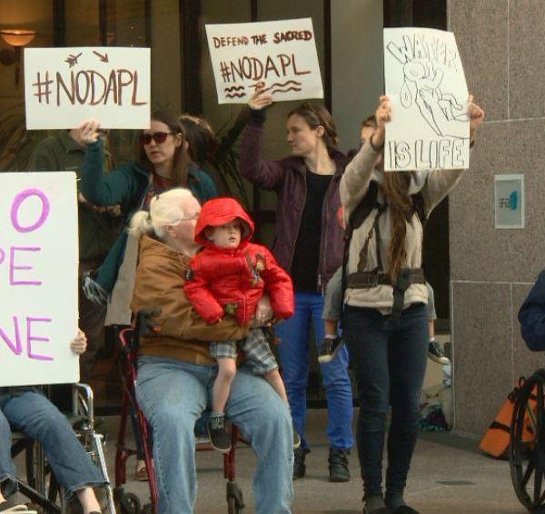 Dakota Access Pipeline protesters in downtown Austin. Dec. 1, 2016_381674