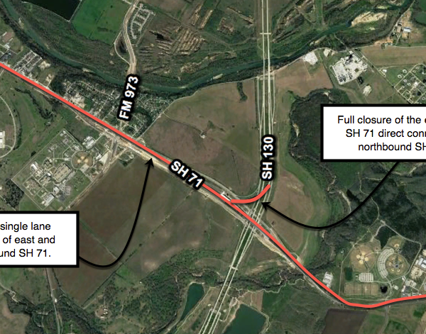 Full Closure of Eastbound SH 71 Direct Connector to Northbound SH 130 and Lane Closures of SH 71_394341