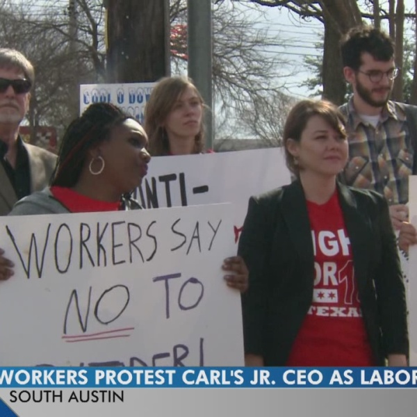 Group fighting for $15 wage protests President-elect Donald Trump's pick for Labor Secretary.