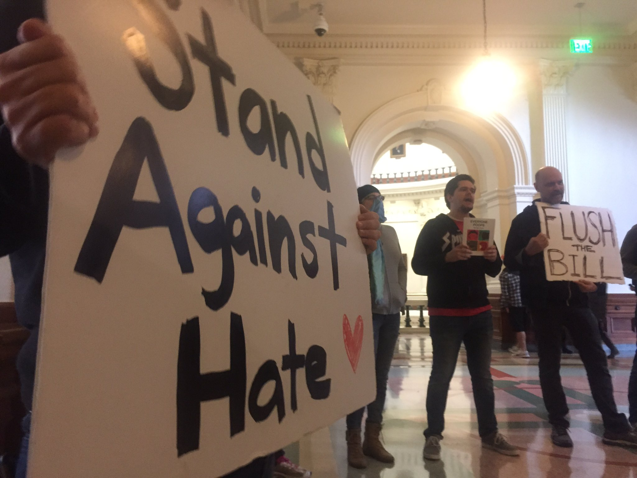 """Protestors shout """"shame! Shame!"""" Outside of press conference on Texas Privacy Act, """"bathroom bill"""" proposed by Lt. Governor Dan Patrick (KXAN Photo)"""