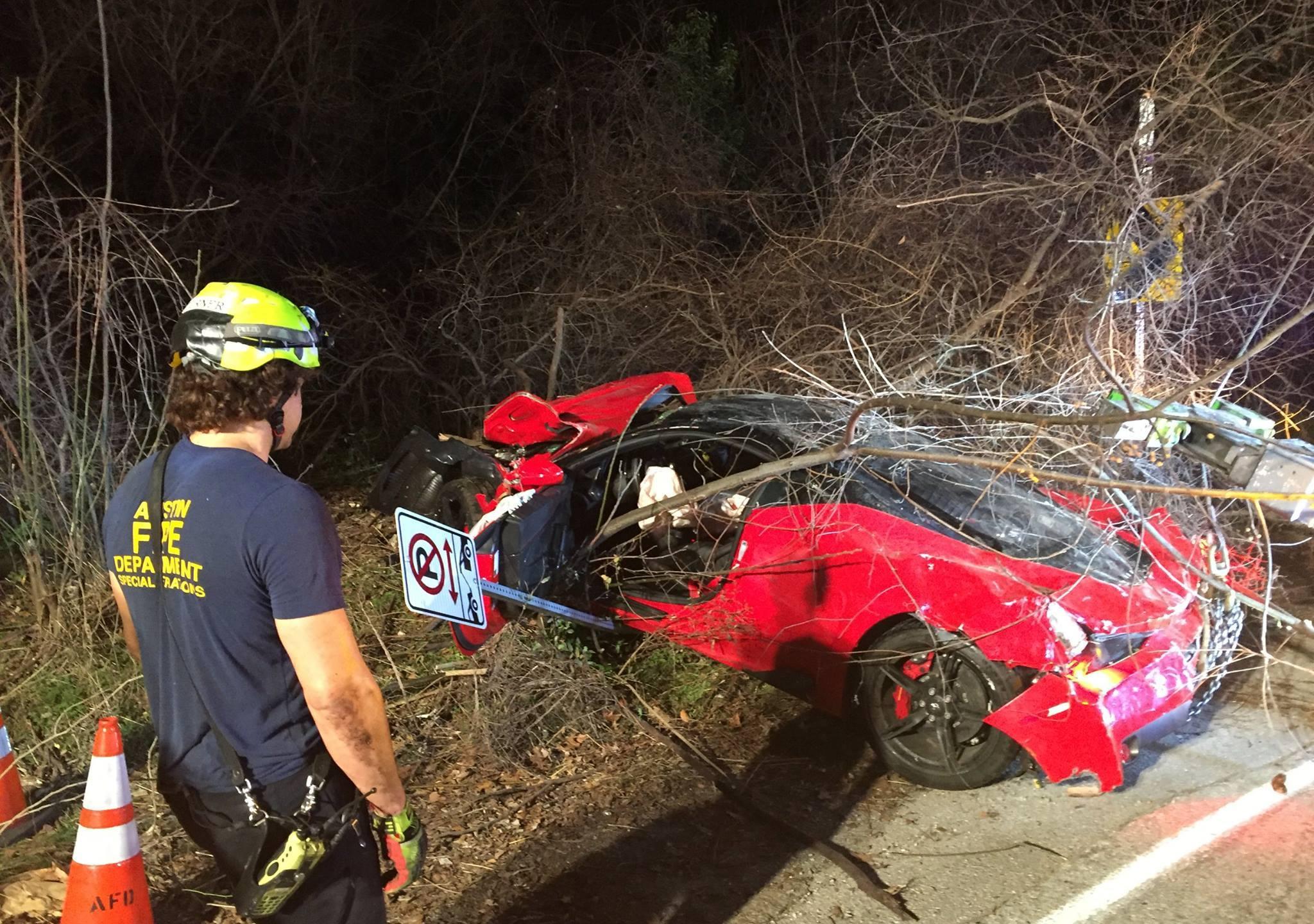 385k Ferrari Totaled After Crashing Into West Austin Ravine