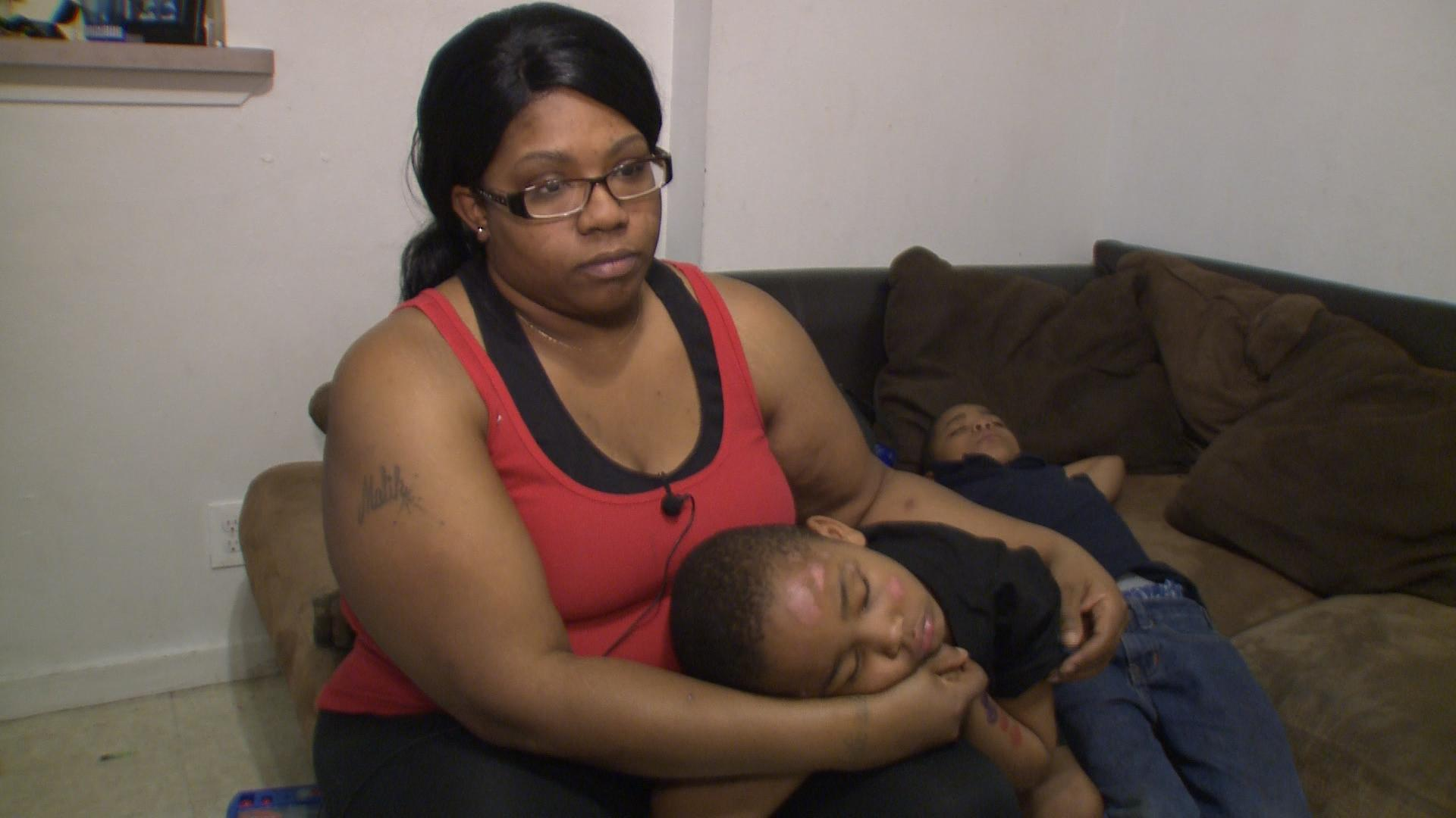 Samisha Hutchison and her 5-year-old son Marquese Earls, who was hit by a vehicle on Webberville Road on Jan. 23, 2017. (KXAN Photo/Chris Nelson)