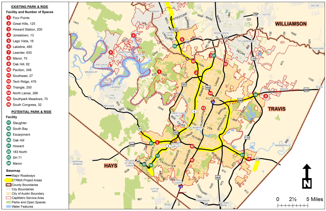 Potential Park and Ride locations. (Travis County)