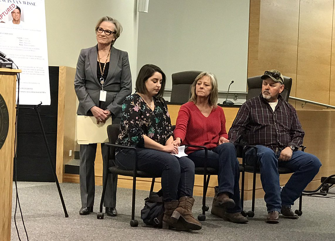 Laurie Stout's family on Jan. 27, 2017 along with Travis County District Attorney Margaret Moore (left). (KXAN Photo/Leslie Rangel)