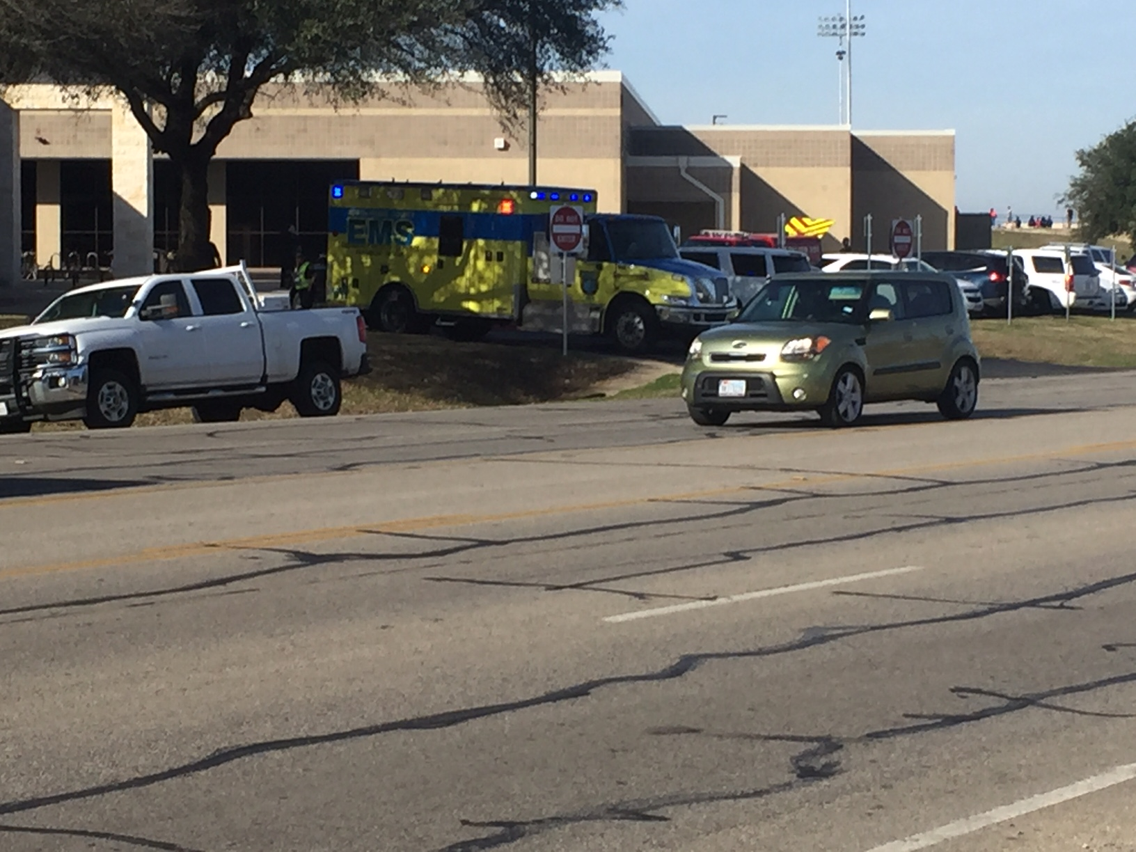 Students and staff evacuated from Pflugerville High School due to bathroom fire. (KXAXN Photo/Frank Martinez)