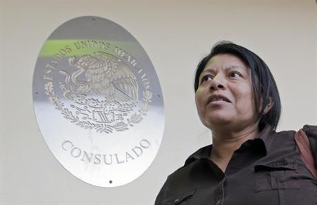 Illegal immigrant Divina Ciriaco, of Mexico, talks to a reporter, at the Mexican Consulate, Friday, March 3, 2017, in Miami. Ciriaco, who has l_430282