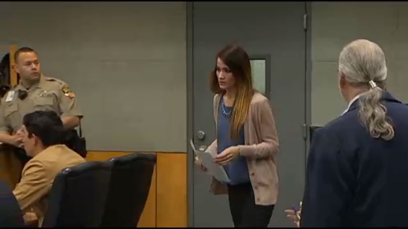 Haeli Wey in court on Feb. 3, 2017 where she pled guilty to two counts of improper student teacher relationship. (KXAN Photo)