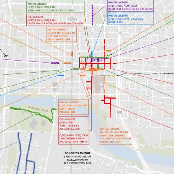 SXSW 2017 road closures map_432239
