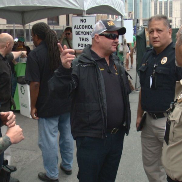 City of Austin PACE Team members confer while on patrol during SXSW 2017 (KXAN Photo)_438111