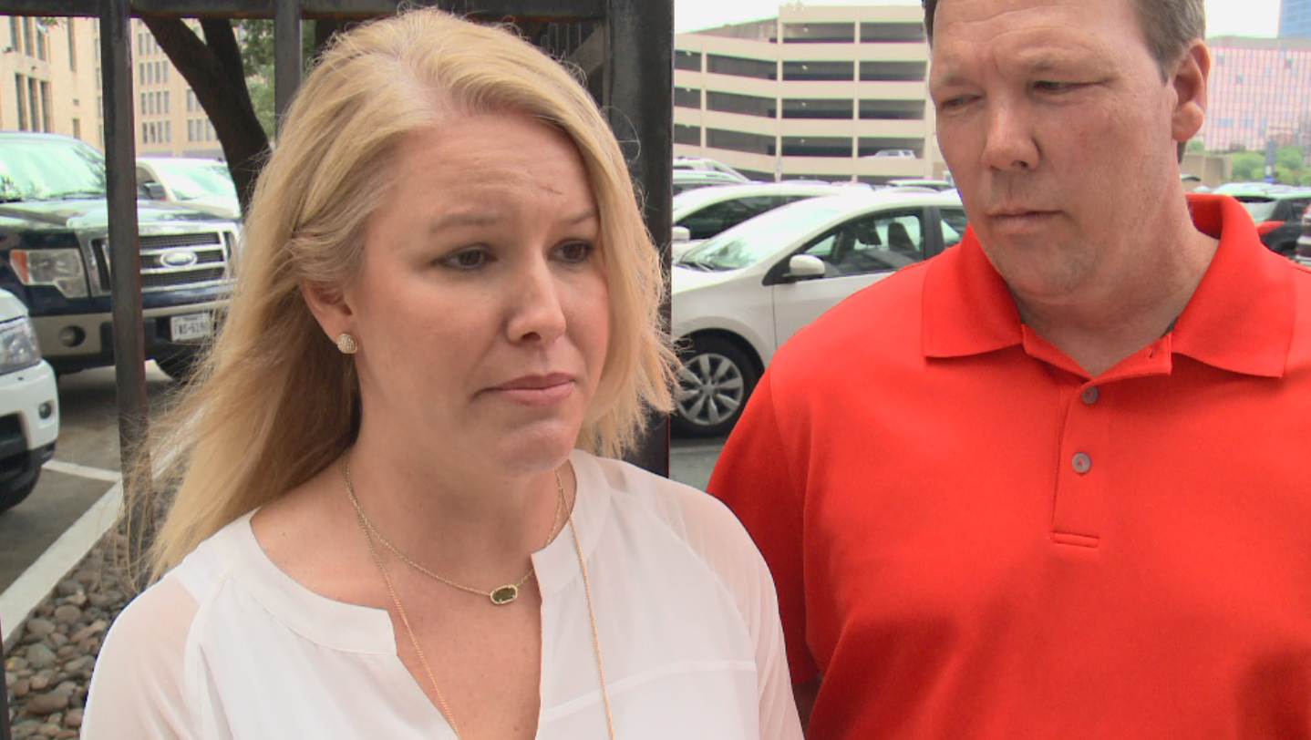 Jennifer and Shelby Williamson are Dallas homebuyers and creditors in the Bella Vita Custom Homes bankruptcy case (KXAN Photo/Paul Shelton).