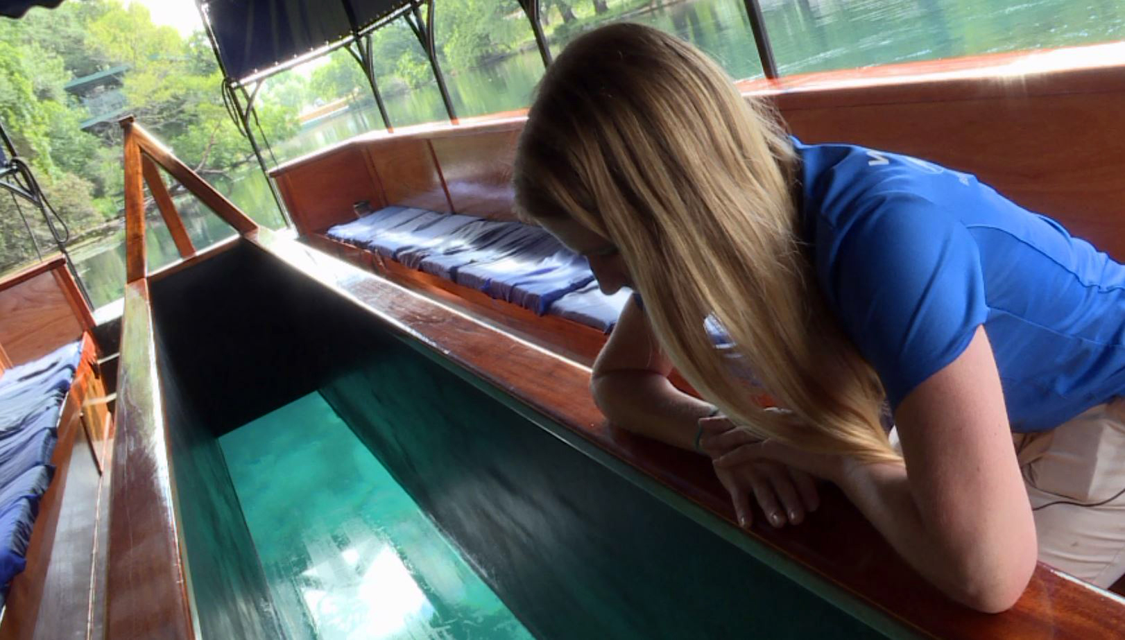 Glass-bottom boats at the Meadows Center for Water and the Environment in San Marcos. (KXAN Photo)