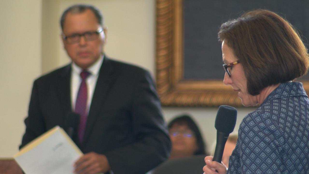 Sen. Lois Kolkhorst, R-Brenham, answers a question related to Senate Bill 17 to Sen. Jose Rodriguez, D-El Paso. July 24, 2017. (Nexstar Photo/Wes Rapaport)