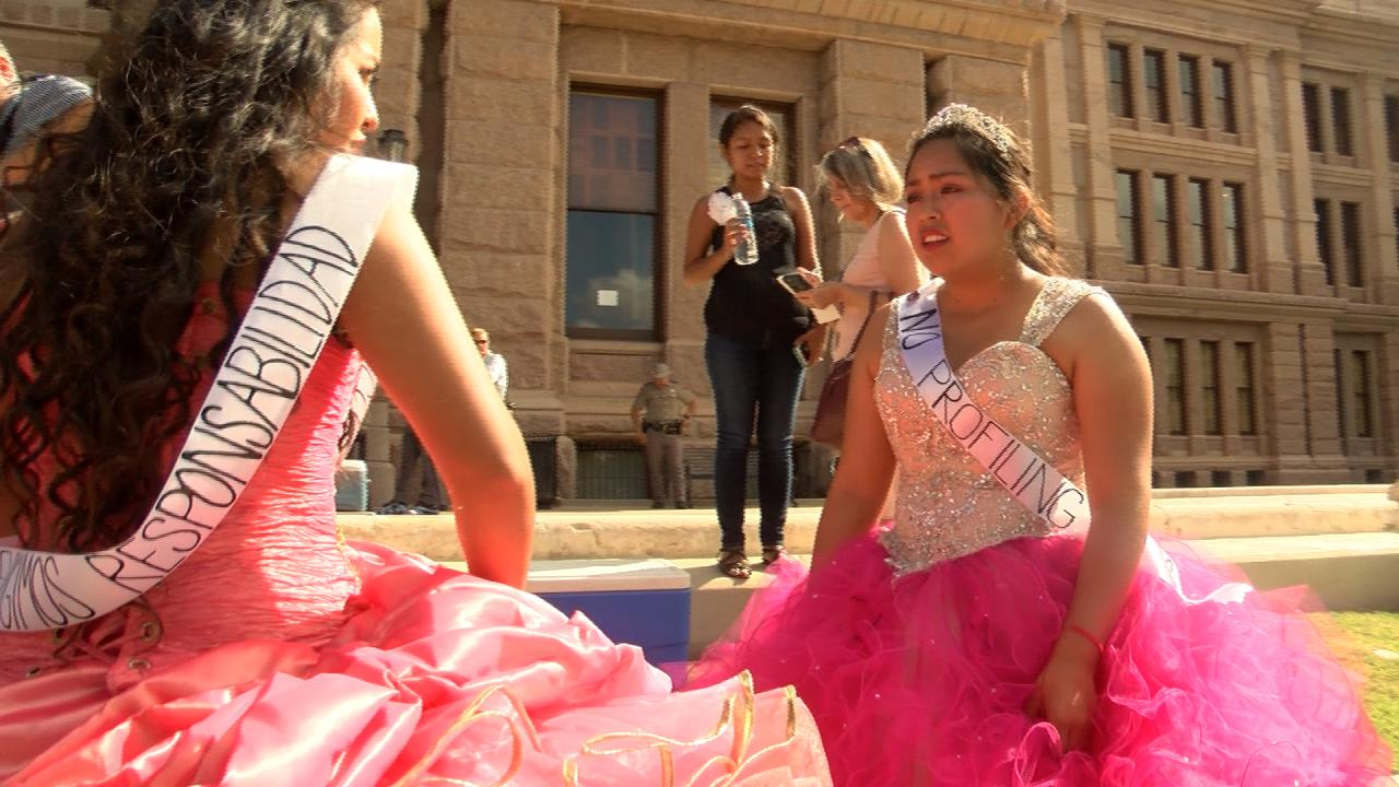 """15 young women participated in a """"Quinceañera at the Capitol"""" to protest Senate Bill 4, Texas' ban on sanctuary cities. (Nexstar Photo/Wes Rapaport)"""